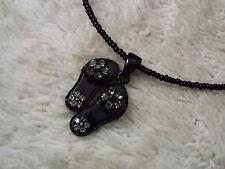 Black Bead Rhinestone Sandals Pendant Necklace (D55)