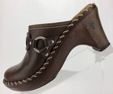Frye Mule Shoes - Brown Leather Clogs Comfort Casual Heels Women's Size 7 M