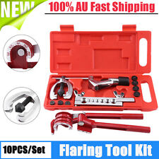10PCS Brake Air Line 7 Dies Double Flare Flaring Tool Kit Set + 180° Tube Bender