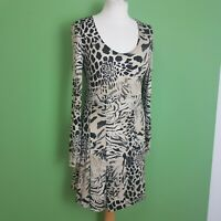 FRANK LYMAN Dress UK 10 Fit & Flare Animal Print Beige Black Stretch Long Sleeve