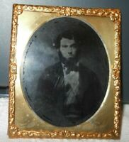 1/6th size Ruby Ambrotype of Hairy Young man in Brass frame