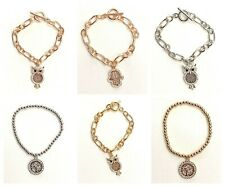 Ladies Rose Gold Silver Coloured Crystal Charm Bracelet Fashion Jewellery