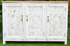 Carved French Provincial Shabby Chic Country Sideboard White TeakTop Hand Buffet