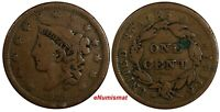 US Copper 1838 Coronet Head Large Cent 1c  (15 657)