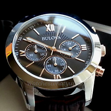 NEW RRP £249 BULOVA MENS CHRONOGRAPH WATCH S-STEEL ROSE GOLD BROWN LEATHER