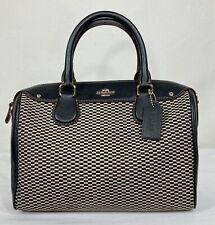 Coach Mini Bennett Satchel in Legacy Jacquard Handbag Purse Black Leather 57242