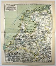 Original 1888 Map of The Netherlands by Meyers. Holland