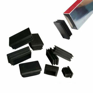 Rectangle Plastic End Caps Black Blanking Plugs Tubing Inserts Bung Box Section