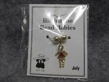 July Baby Birthstone Bead Babies Necklace Pendant Charm Gold Tone Triangle Body