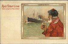 Red Star Line Steamship Antwerp-New York CASSIERS Old Fisherman Postcard