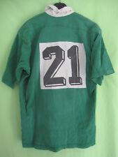 Maillot rugby 80'S Vintage Vert acrylique Porté #21 ancien Jersey sport - XL