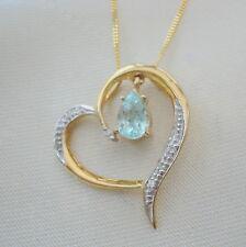 Natural Neon Blue Paraiba Tourmaline & Diamond Heart Gold Pendant