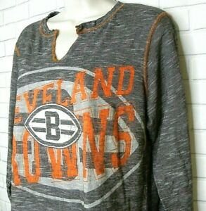Women's majestic Fan Fashion Cleveland Browns Top Size XL V-Neck Gray Orange
