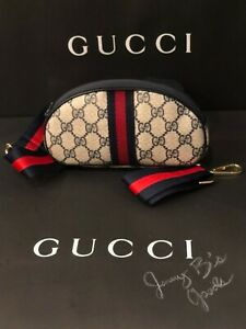 Authentic GUCCI GG Canvas Vintage Pouch Crossbody/ Waist Bag Blue Red Web