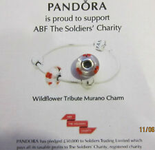 AUTHENTIC PANDORA STERLING SILVER WILDFLOWER TRIBUTE MURANO CHARM 791636