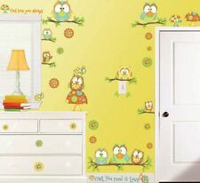 WHO'S HOO WALL DECALS 46 New Cute Colorful Owls Stickers Girls or Nursery Decor