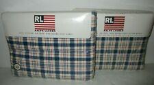 Ralph Lauren Red Blue Oakley Queen Flat and Deep Fitted Sheets 60 x 80