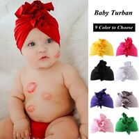 Kids Girls Flower Newborn Baby Toddler Ruffle Turban Knotted Bow Hat Beanie Cap