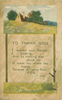 c1910 Arts & Crafts Thanks You Saying Motto Cottage Volland Postcard