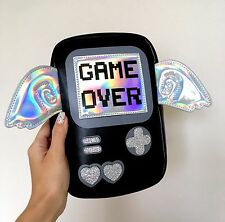GAME OVER Gamer Video Game Console Hologram Cosplay Crossbody Black Bag Handbag