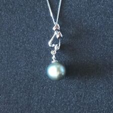 9ct  White Gold Tahitian Pearl & Diamond Pendant Necklace