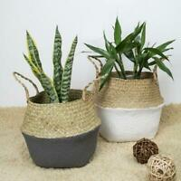 Garden Foldable Seagrass Belly Fine Woven Basket Flower Plant Pots Storage Bag