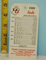 1969 Cincinnati Reds Baseball Schedule Denny-Reyburn Company Tickets & Tags