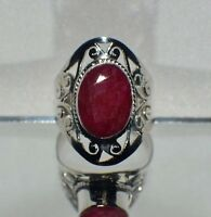 7.00 ct. NATURAL GENUINE AFRICAN RED RUBY .925 STERLING  SILVER TRIBAL RING