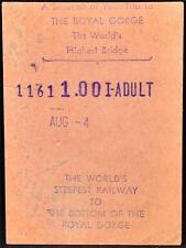 1950s Royal Gorge Ticket Worlds Highest Bridge Steepest Railray Railroad