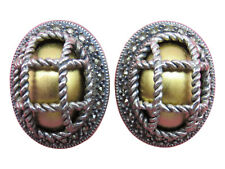 Judith Jack Clip Earrings Silver Marcasites Chunky Gold Designer Jewelry 988g