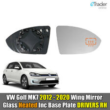 VW Golf MK7 Heated Mirror Glass & Backing Door Wing Drivers Side Right O/S 12-20