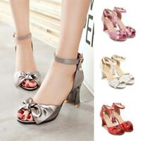 Women Bowknot Ankle Strap High Heels Peeps Toe Buckle Sandals Party Casual Shoes