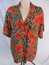 Diane Gilman Womens M 100% Silk Hibiscus Short Sleeve Career Blouse Shirt CB28N