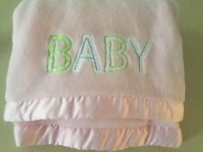 Carters Pink BABY Embroidered Satin Edges Blanket Fleece Gray Letters 30x40
