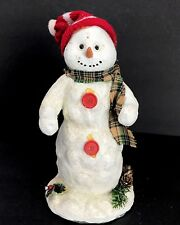 Vintage Holiday Workshop Snowman Figurine Statue Christmas Decor Scarf Holiday