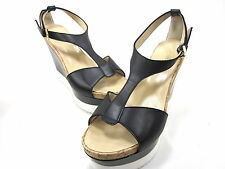 TAPEET BY VICINI, T-STRAP PLATFORM WEDGE SANDAL, WOMENS, VITELLO NERO, US 10B