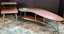 Vtg Boomerang Kidney Coffee Table End Table 2 Tier Pair Mid Century Modern