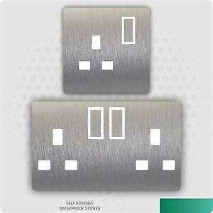 Brushed Aluminium Silver Metal Effect UK Plug Socket Sticker Bedroom Living Room