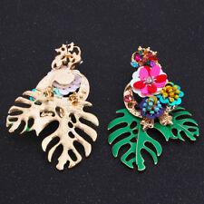 Vintage Women Green Leaves Flower Rhinestone Crystal Ear Stud Dangle Earrings