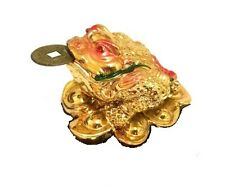 GOLD Feng Shui three legged Lucky Money Frog Toad w. Coin  Attract Wealth