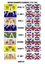 Awi Flags - British Regiments N.America 1775 - 1783 (Sheet 03) - 28mm