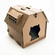 Us Stock Cardboard folding Cat House with Cat Scratcher 17.3*17*16.5 in