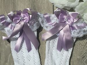 Handmade lilac bows & lace knee high girls frilly socks