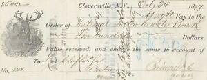 1879  GLOVERSVILLE, NEW YORK  DEER VIGNETTE   SIGHT DRAFT