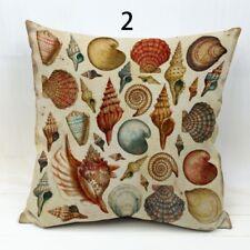 Nautical shells cotton canvas cushion cover, seaside, beach, marine, cornwall