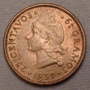 - Scarce 1939  Dominican Republic 25 Centavos / 25 Cents - Key Date