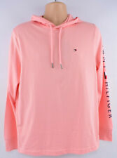 TOMMY HILFIGER Men's Long Sleeve Hooded Top, Peach, size M