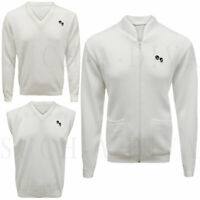 Men Golf Bowling White Sleeveless V-Neck Knitted Jumper Tank Top Cardigan Zipper