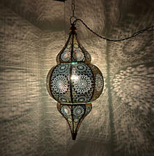 Oriental Moroccan Hanging Pendant Light Metal Ceiling Lamp Shade (Blue) 20 x 10""