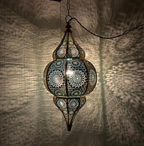 "Oriental Moroccan Hanging Pendant Light Metal Ceiling Lamp Shade (Blue) 20 x 10"""